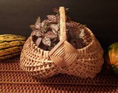Vintage handled woven wicker buttocks basket god 39 s eye planter bread egg gathering farmhouse rustic country decor storage french