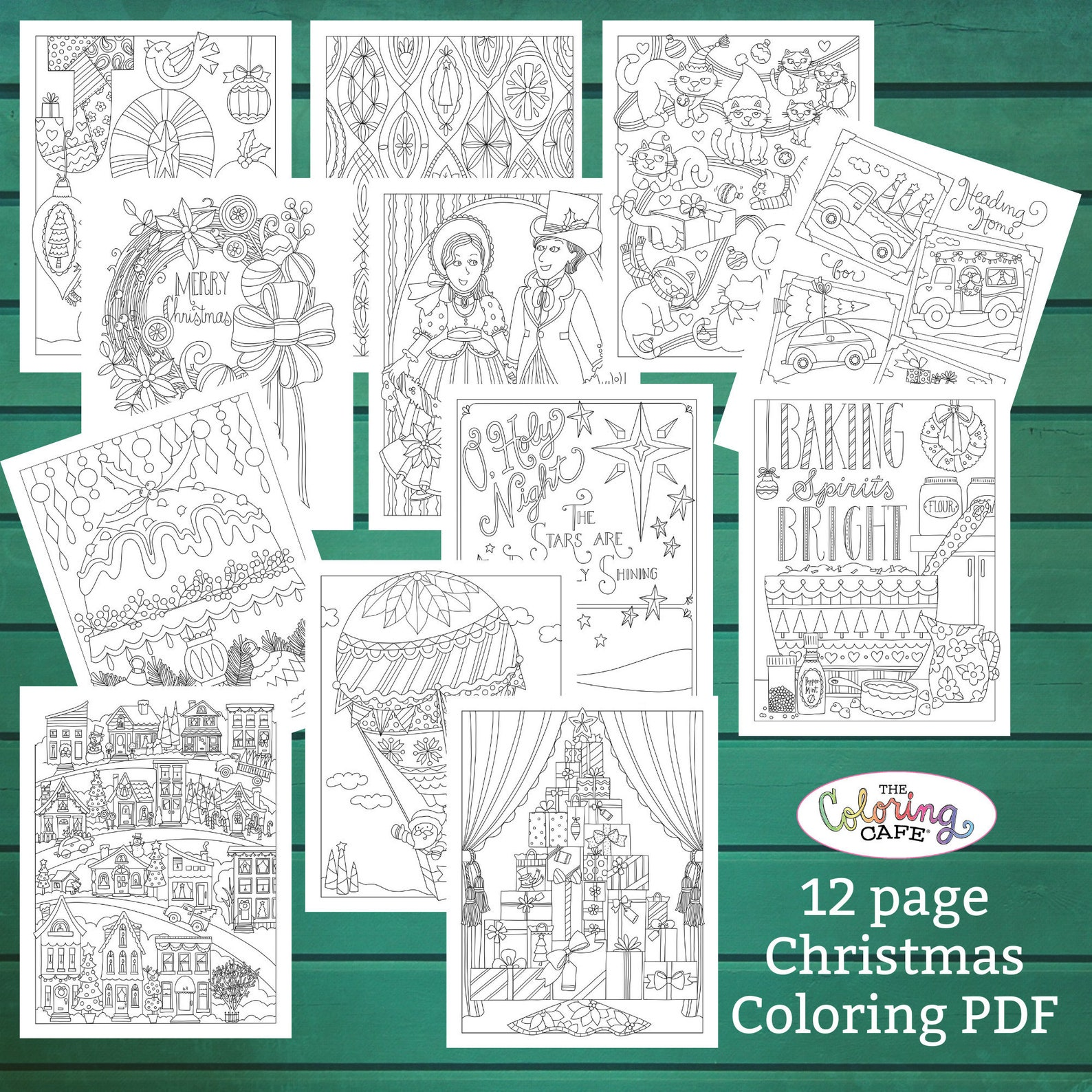 The Coloring Cafe Christmas Etsy Coloring Book