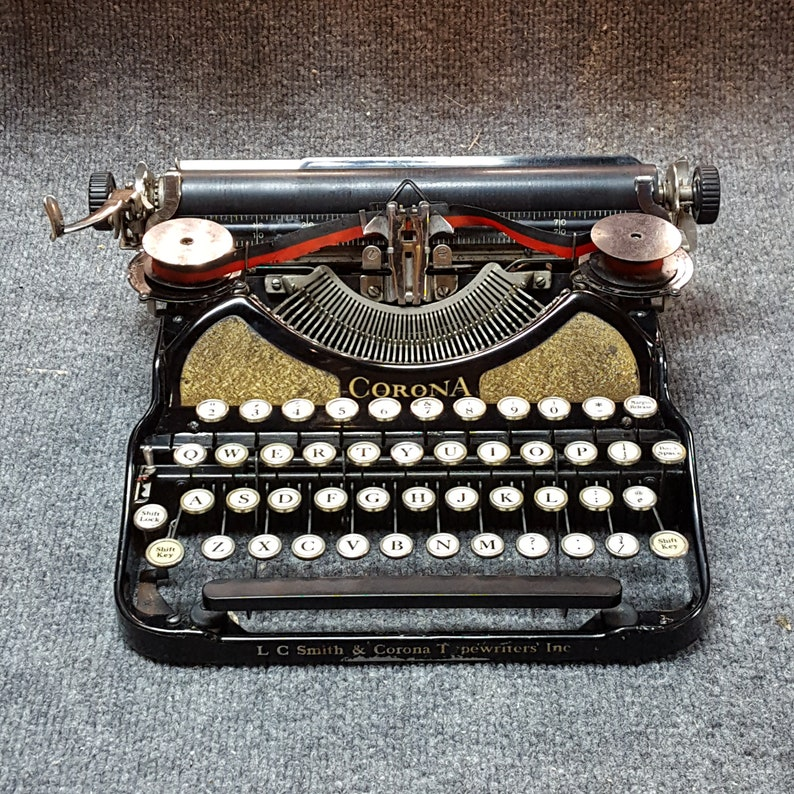 FREE SHIPPING 1920s/30s LC Smith Corona Portable Typewriter image 0
