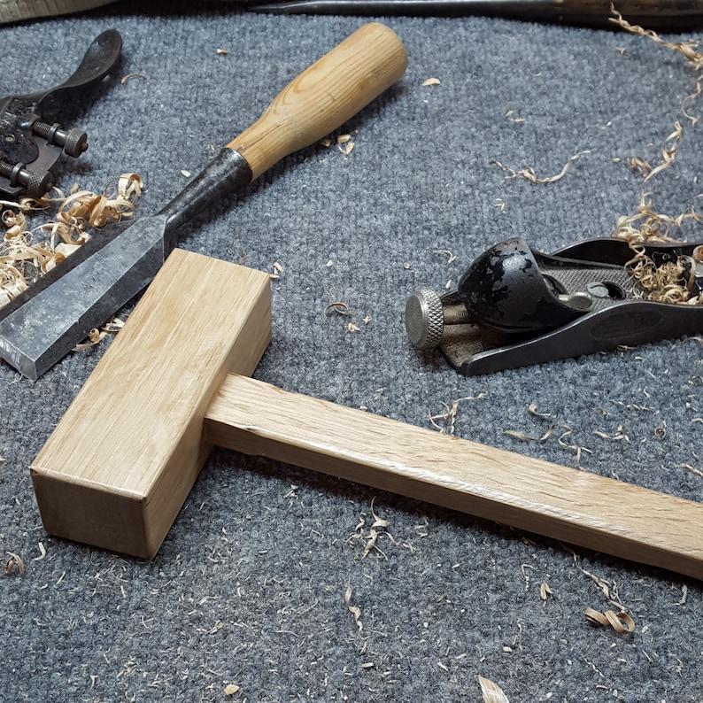 Hand Made Vertical Grain Oak Wooden Mallet Primative image 0