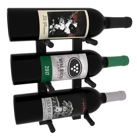 Wall Mounting Metal Wine Rack 1 Foot High Single Double Or Triple Deep Two Finishes