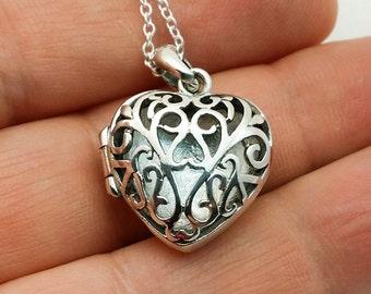 Sterling silver locket - filigree heart locket - secret heart locket - keepsake locket - girlfriend gift - mother - anniversary gift