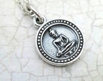 Kwan Yin necklace, Sterling Silver Bodhisattva necklace, Goddess necklace, Buddhist jewelry, Unalome, yoga jewelry, meditation jewelry