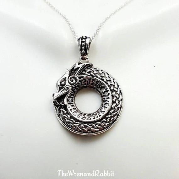 Ouroboros Necklace Sterling Silver Ouroboros Snake Eating Etsy