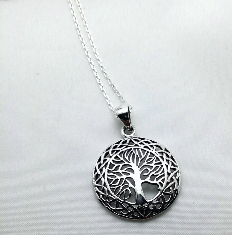 mother girlfriend bridesmaid Sterling Tree of Life pendant daughter sterling silver chain sterling silver tree and vines necklace