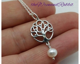 Sterling Tree of Life pendant - Cute sterling silver tree necklace with pearl - sterling silver chain - freshwater pearl - tree pendant