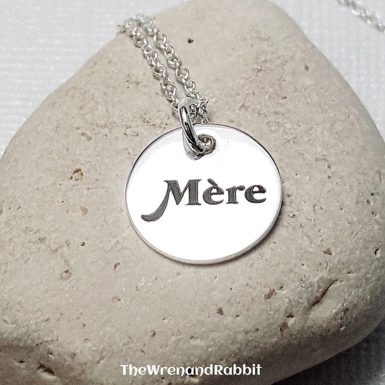 French m\u00e8re Mothers day gift Irish Personalized necklace Personalized Mother necklace. Scottish Gaelic Custom Engraved pendant Hebrew