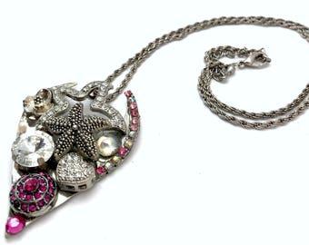 Crystal Charm Necklace, Crystal Necklace, Crystal Charm, Cluster Necklace, Charm Cluster, Chunky Crystal Jewelry, Women Statement Necklace,