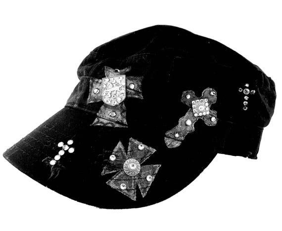 9a539252797 Womens Black Hats Cross Hats Painted Hats Black Caps