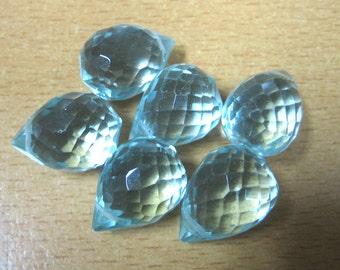 Faceted Aqua Quartz Teardrop Beads