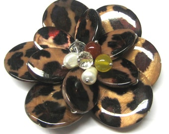 Mother of Pearl, Fresh Water Pearl, Jade, and Crystal Flower (1pc)