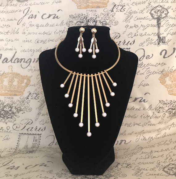 Vintage Modernist Spike Choker Necklace and Earrin