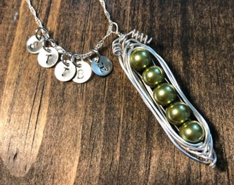 Custom hand stamped and wire wrapped 5 Peas Peapod Necklace