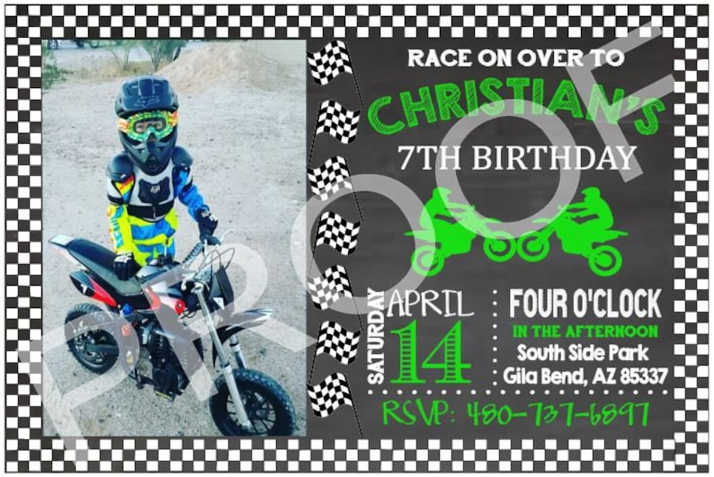 Custom Motocross Birthday Invitation Digital File Printable