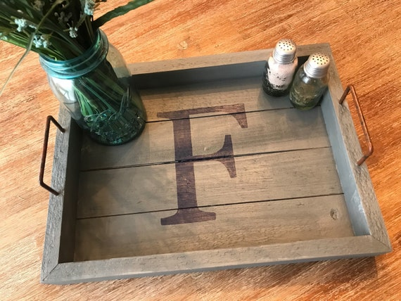 Custom Grey Washed Wood Tray Distressed Rustic Serving Tray Etsy