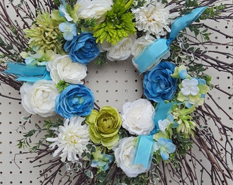 Blue White and Green Floral Twig Wreath