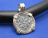 Small quot 1 Reale quot Quality Reproduction of Atocha Shipwreck Coin in 14k Yellow Gold Bezel with Barrel Bail Handmade by Crisol Jewelry