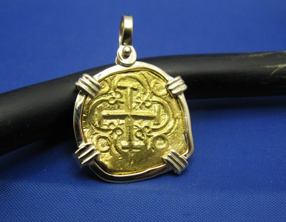 Odd Shaped Fine Solid 24k Pure Gold Spanish Shipwreck Coin inside Handmade  14k Bezel Pirate Treasure Coin Doubloon Reproduction Pendant