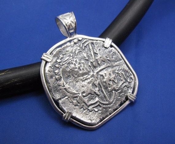Sterling Silver Round Spanish Pirate Shipwreck Coin Pendant Treasure Memorabilia