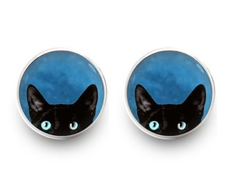 Black Cat Earrings Stud Cat Jewelry (with jewelry box)