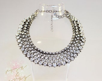 Kate Middleton Zara Vintage Crystal Statement Necklace Choker Necklace, Bridal Princess Necklace, Wedding Jewellery