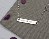 Silver Mama Necklace,Mama Necklace,Mama Bar Necklace,Mama,Silver Bar Necklace,Bar Necklace