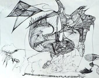 "Black Ink - Drawing - 11"" X 14"" - Kite Fantasies - Not Framed"