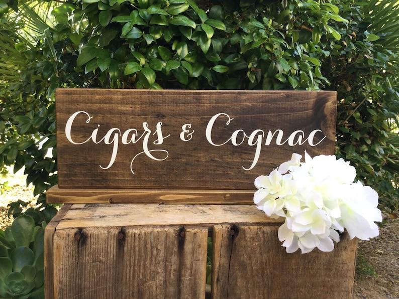 Cigars & Cognac Bar Sign, Cigar Bar Sign, Cognac Sign, Whiskey Bar Sign,  Man Cave Sign, Bachelor Cigar Favors, Rustic Wedding Sign, 15 x 5