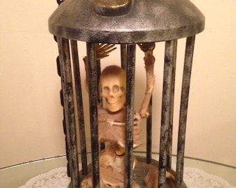 "Large Vintage RARE Halloween Prop Decoration Skeleton in Cage Chain attached for Hanging, Dances & Plays ""Bad to the Bone"""