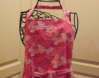 Adult Apron, Pink Butterfly