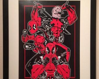 Deadpool poster A3 merc with a mouth samurai gunslinger marvel print
