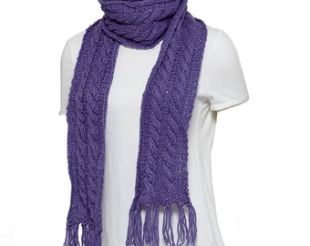 Purple Woven Scarf with Fringe