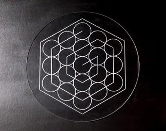 Circle Grid Fruit of Life Laser Cut Crystal Grid Artwork