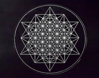 64 Tetrahedron Laser Cut Crystal Grid Artwork