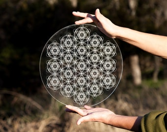 Metatron Cube Array Laser Etched Crystal Grid