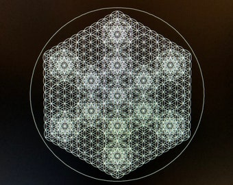 Flower of Life Metatron's Cube Field Laser Cut Crystal Grid Artwork