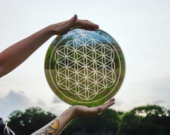 Flower of Life Laser Cut Crystal Grid Artwork