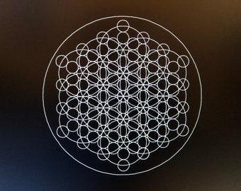Sacred Geometry Circles Laser Etched Crystal Grid