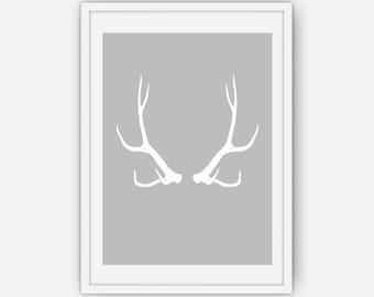 Grey Antler Print, Antler Wall Art, Antler Print, Wall Art, Printable, Instant Download
