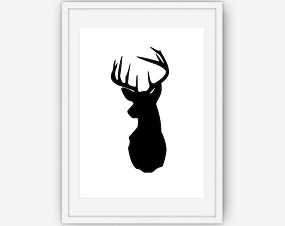 T te de cerf noir et blanc impression cerf bois murale art etsy - Dessin tete de cerf ...