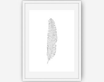 Silver Feather Print, Silver Feather Wall Art, Silver Print, Feather Wall Art, Feather Wall Print, Wall Art, Printable, Instant Download