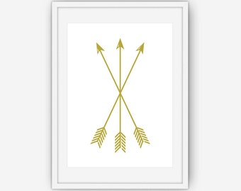 Gold Arrow Print, Arrow Wall Art, Gold Wall Art, Arrow Wall Prints, Gold Arrows, Wall Art, Printable, Instant Download