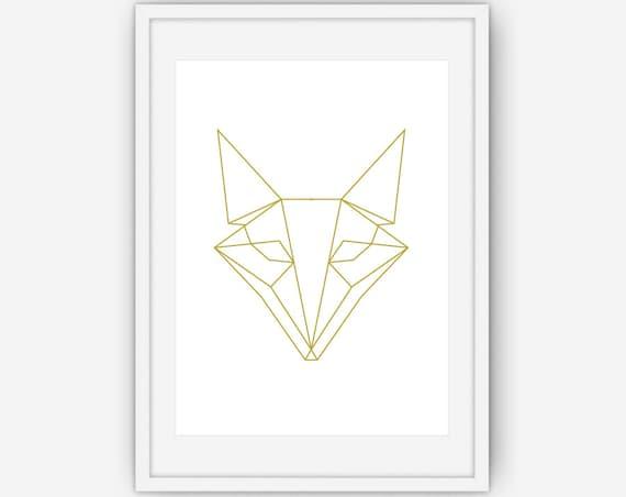 imprim g om trique fox fox art dessin de renard or art etsy. Black Bedroom Furniture Sets. Home Design Ideas