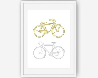 Gold and Silver Bicycle Print, Bike Print, His and Hers Print, Bicycle Wall Art, Bicycle Print, Wall Art, Printable, Instant Download