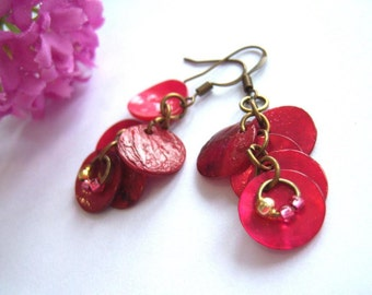 Bronze dangle earrings nacre slices mother of pearl beads pink gold fuchsia