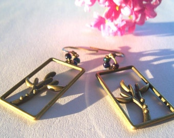 Bronze, bronze tone dangle earrings limb of a tree autum fall beads picture frame