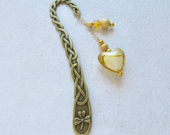 Beaded bookmark, Gold bookmark, crystal book mark, heart bookmark
