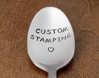 Custom Hand Stamped Spoon Engraved Spoon Personalized Spoon Birthday Gifts For Dad Gift For Mom Gift Christmas Gift Fathers Mothers Day Gift