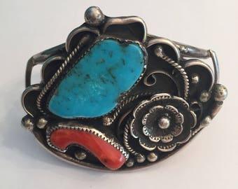 57 Gr. Native American Turquoise Coral Vintage Squash Blossom Cuff Bracelet