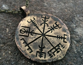 Viking Mens Necklace Compass  Jewelry Norse  Traveler's Protective Vegvisir Pendant Amulet Gift Mens